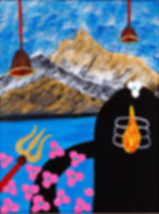 Shiva in Himalayas painting