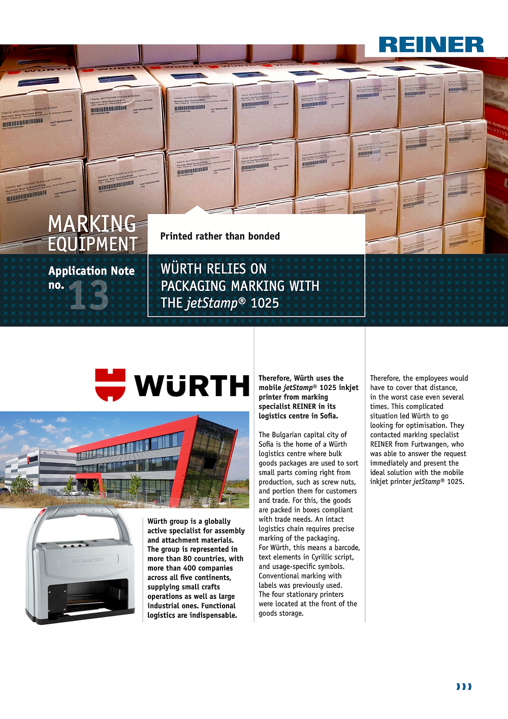 Würth - Sofia uses jetStamp® 1025 for its box coding operations