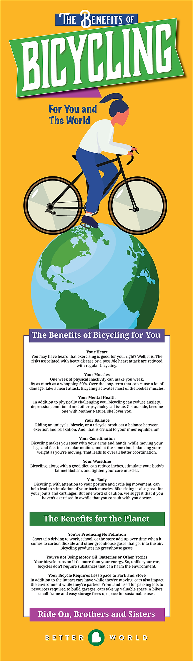 Better World Club bicycle riding benefits for health and the environment