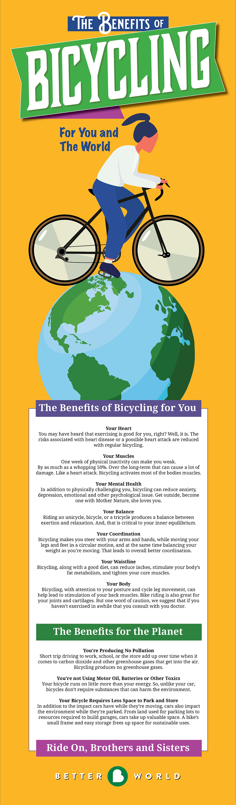 Better World Club benefits of bicycling for health ant the environment infographic poster