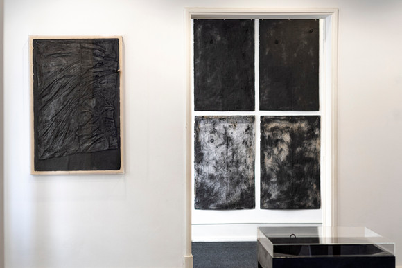"""View of the exhibition """"With a Handful of Dust"""" by Rita Gaspar Vieira, 2020. © Eduardo Sousa Ribeiro, 2020 1st Desvio Plan, 2020 Cotton paper manufactured on a table / work support from the Pencil Factory Viarco 101 x 65 cm 2º Plan With a Handful of Dust - support, 2018 Cotton paper manufactured on a table / work support from the Pencil Factory Viarco 101 x 65 cm"""