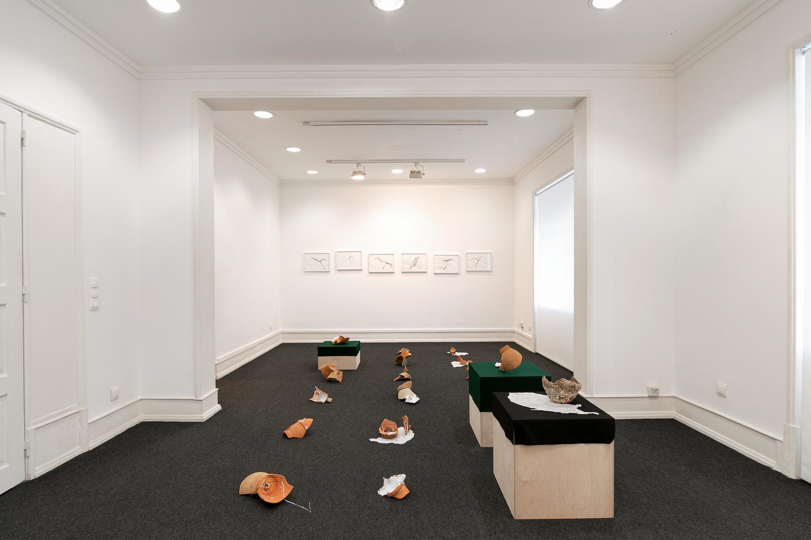 Vista da sala com instalação de Rita Gaspar Vieira e desenhos de Renzo Marasca