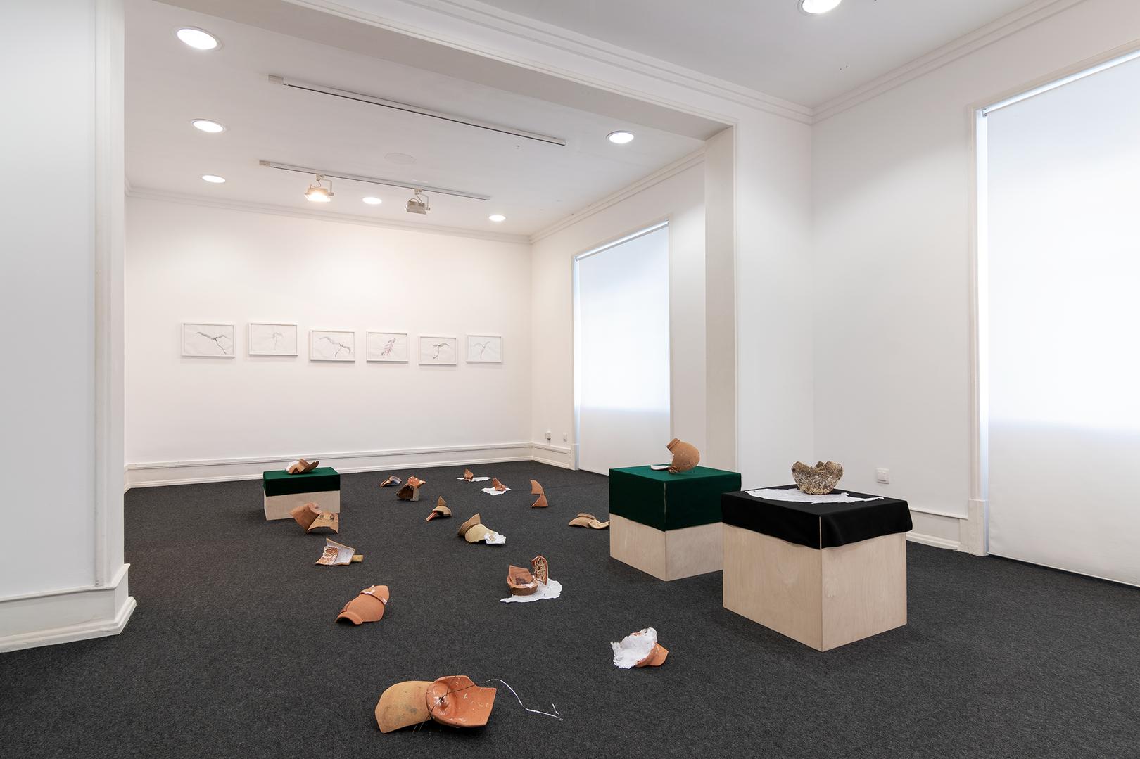 Vista da instalação de Rita Gaspar Vieira e desenhos de Renzo Marasca