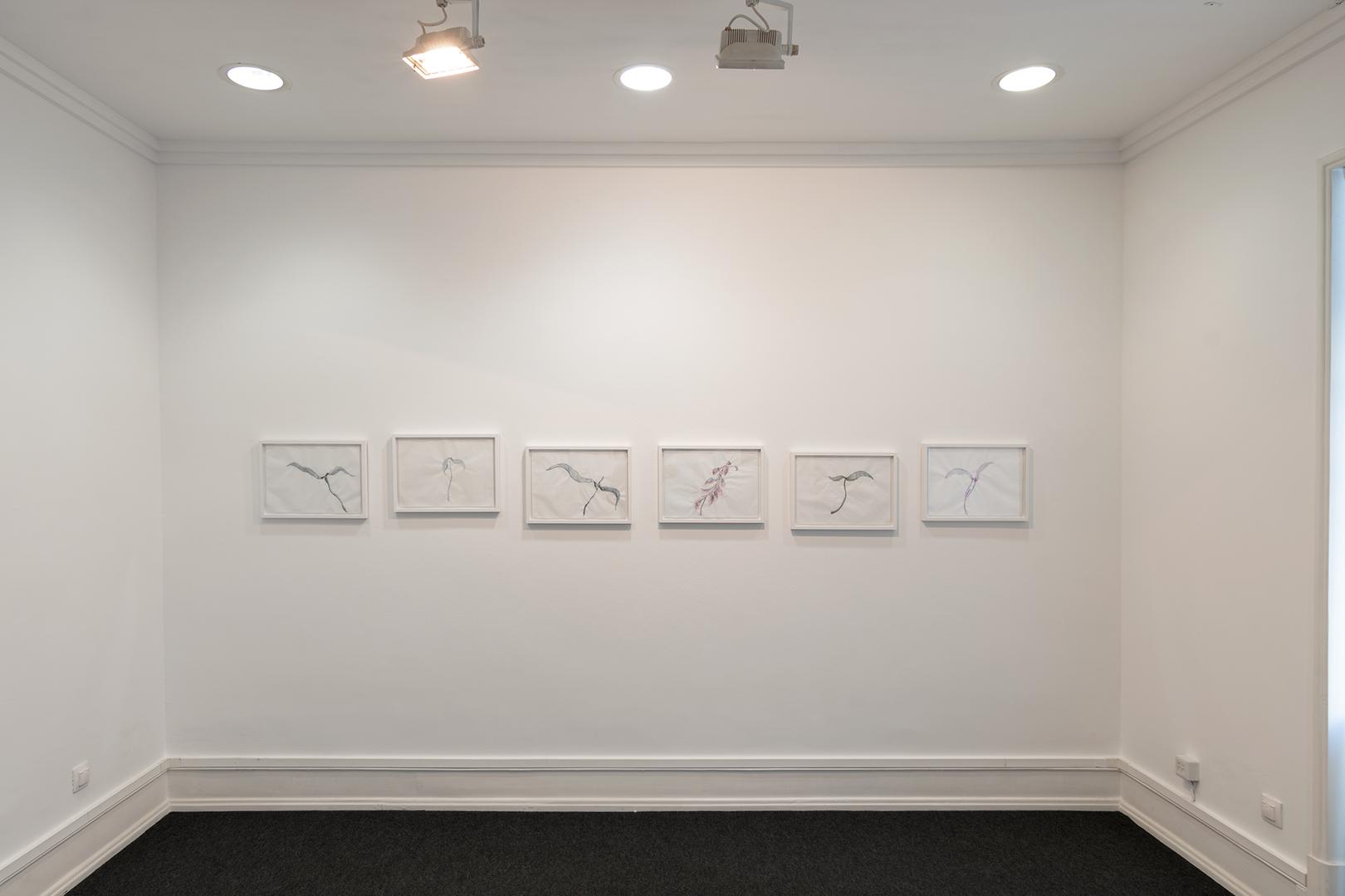 Vista da sala com obras de Renzo Marasca