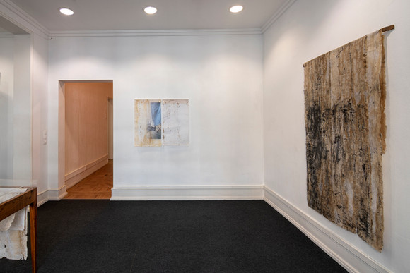 """View of the exhibition """"With a Handful of Dust"""" by Rita Gaspar Vieira, 2020. © Eduardo Sousa Ribeiro, 2020 Back wall: Shadow, 2020 (Diptych) Digital print on manufactured cotton paper 81 x 49 cm each sheet Single proof + 1 PA"""