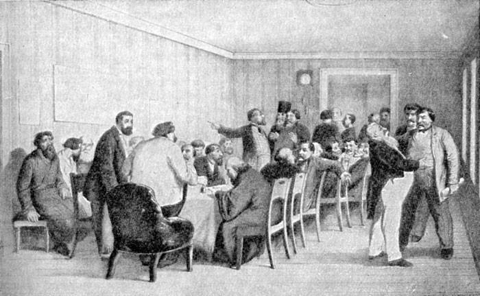 Земское собрание в провинции. Гравюра 1865 года