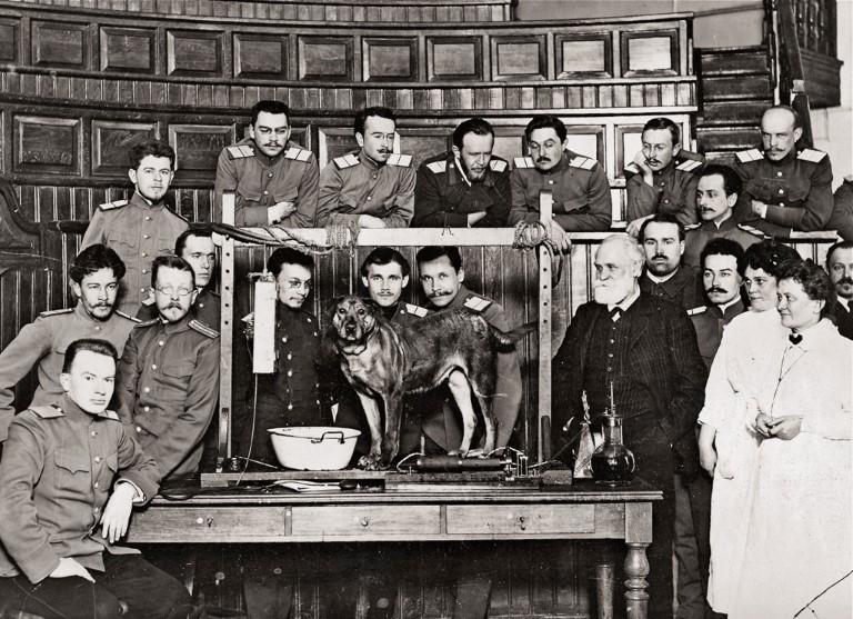 1912 г. И.П. Павлов в аудитории кафедры физиологии Военно-медицинской академии после демонстрации лекционного эксперимента.