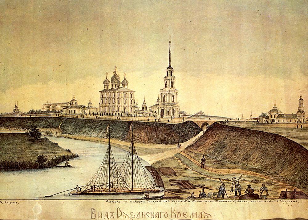 Рязанский Кремль. Слева вдалеке видны два шатра храма Святого Духа. Рисунок 1863 года