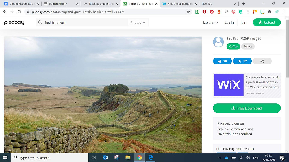 pixabay hadrian's wall picture for online roman history timeline