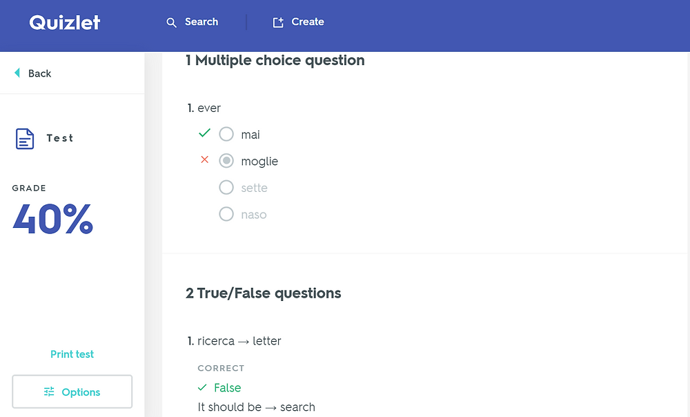 quizlet test view learning the 1000 most common italian words