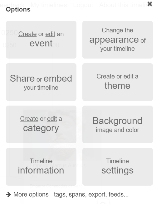options in chronoflo online timeline maker for students
