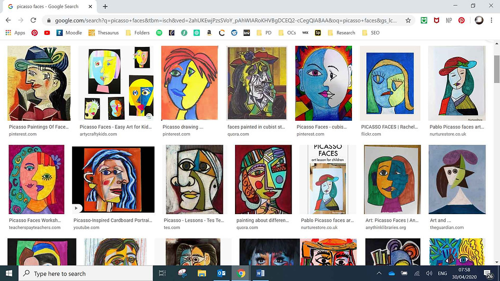 screenshot of a google image search showing picasso paintings