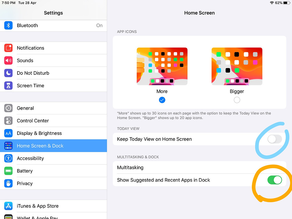 On and off toggles highlighted on Home screen settings on an iPad