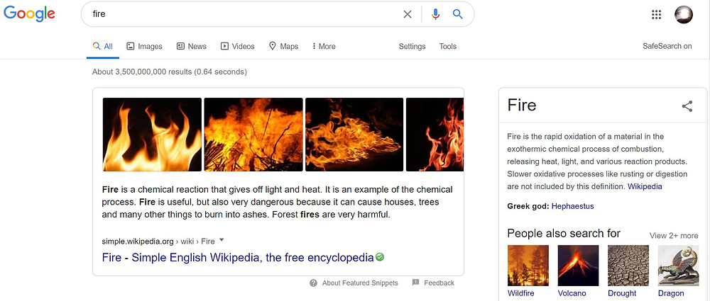 What happens when you google 'fire'.