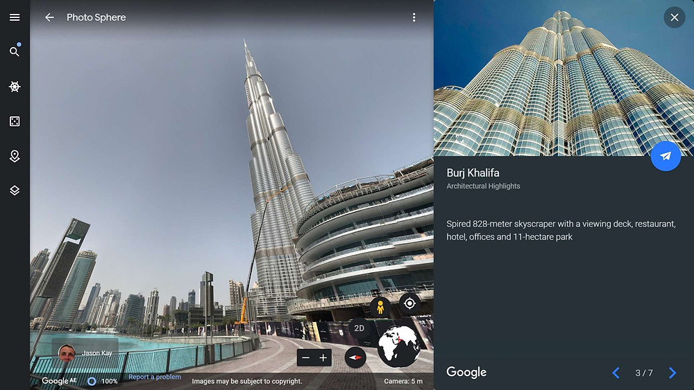 The current tallest building in the world, the Burj Khalifa in Dubai on Google Earth