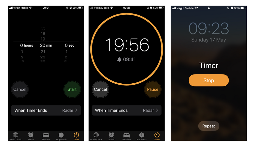 iphone timer and alarm screen
