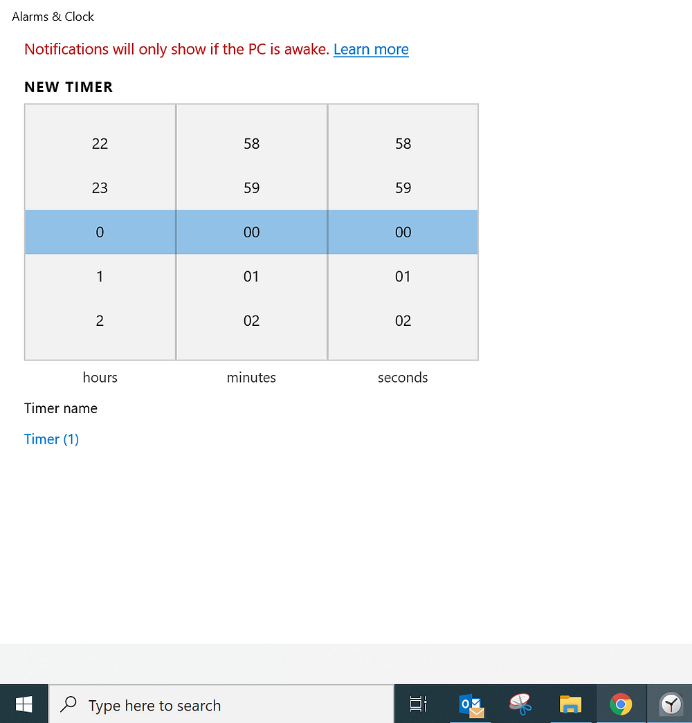 Screenshot of setting a windows timer in the Alarms and Clocks app