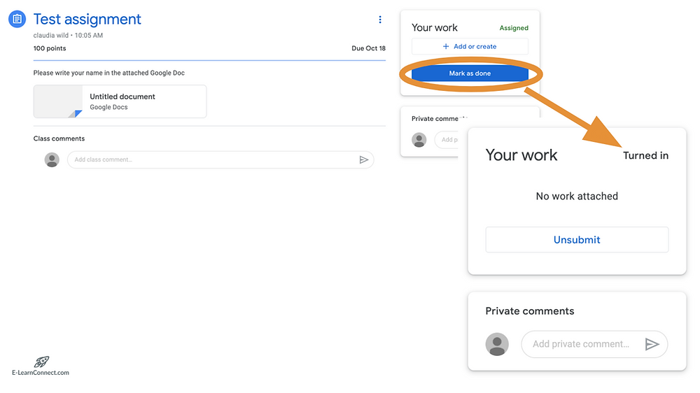 what does turned in mean in Google Classroom