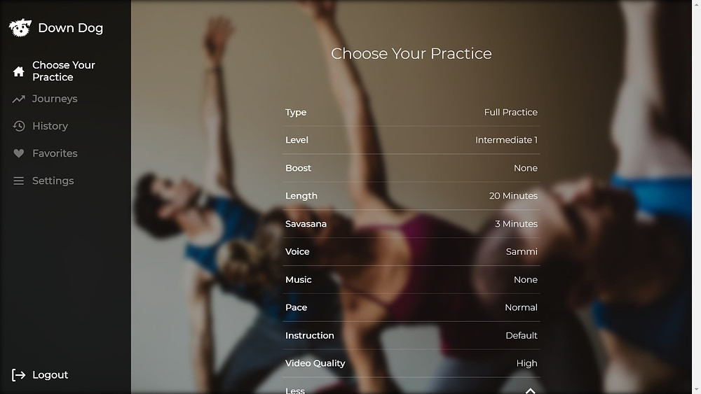 down dog yoga choose your practise settings on the browser