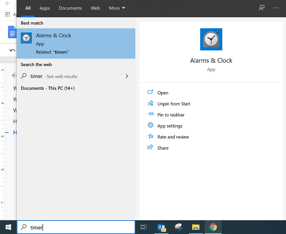 screenshot windows timer alarms and clocks from start menu