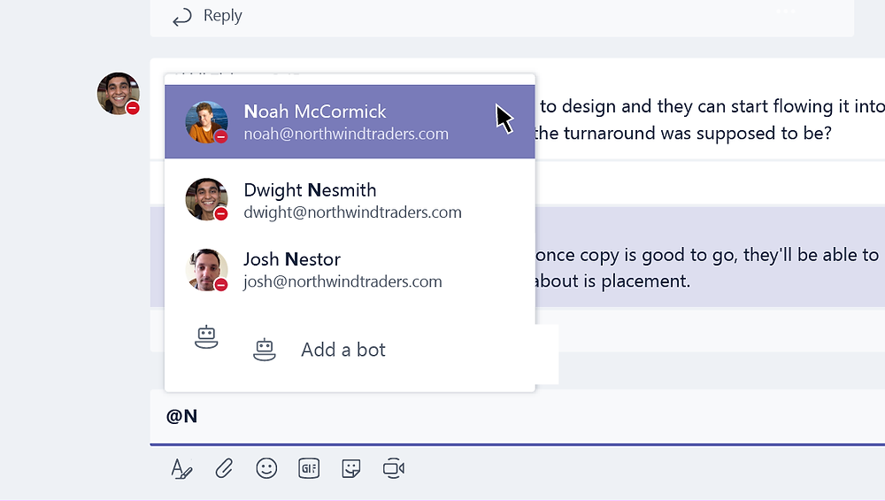Using a mention in a Microsoft Teams channel post