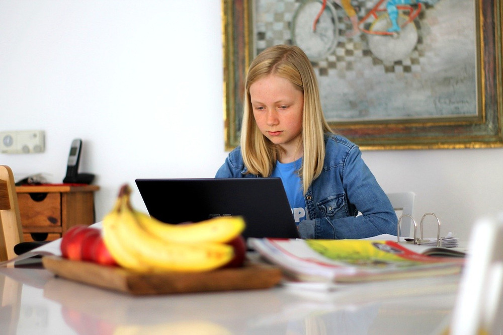 a girl focuses on home learning using a laptop