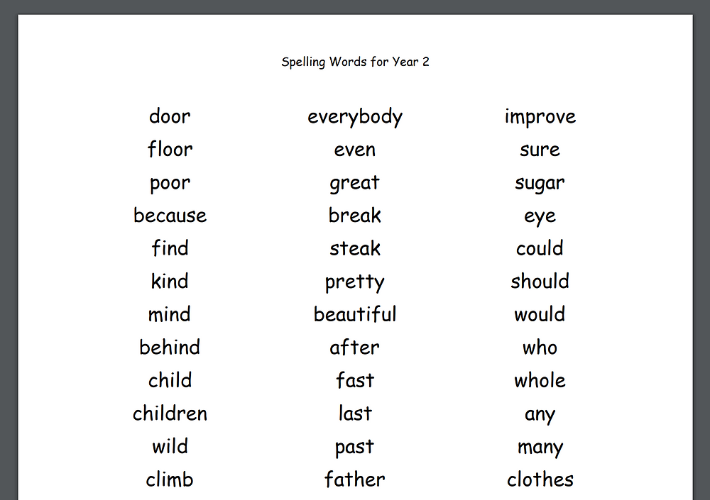 free download year two spellings list words uk national curriculum common words