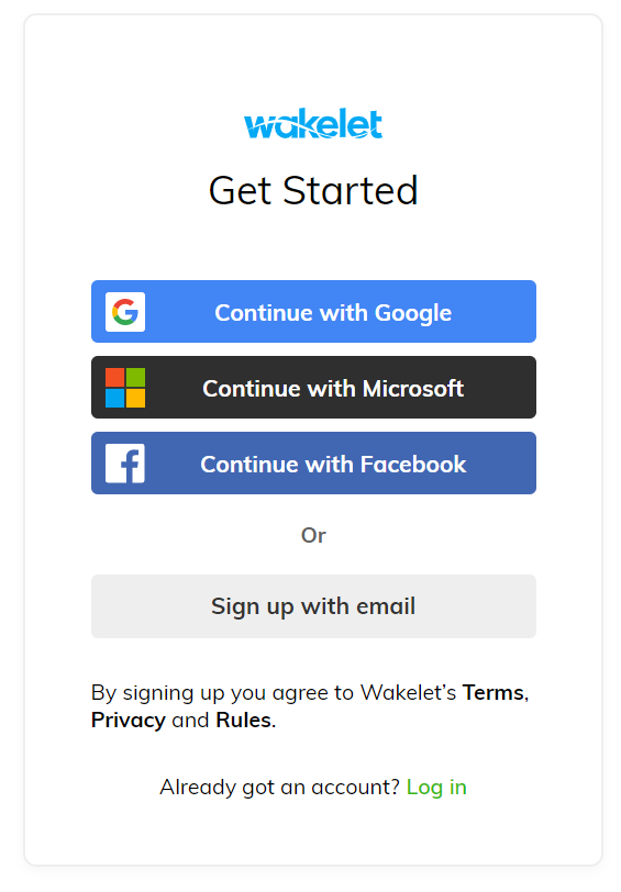 Wakelet login choose to login with google microsoft facebook or sign up for a wakelet account