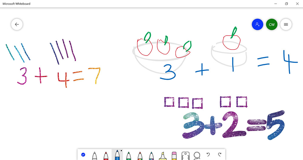 how to do addition at home with kindergarten kids online digital whiteboard fun rainbow text
