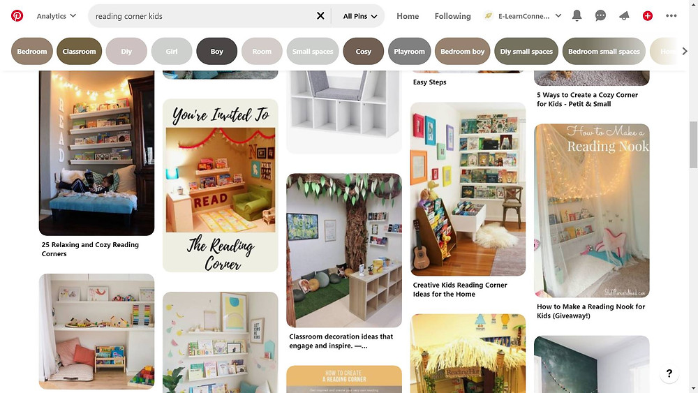 Pinterest screenshot showing reading corners for kids doing home learninghome