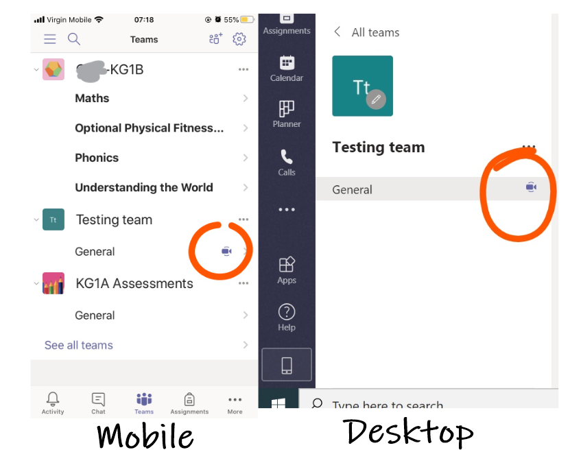 Mobile and desktop view of meeting icons on microsoft teams channels