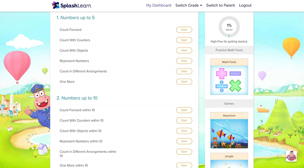 Splash learn kids addition and number games online learning