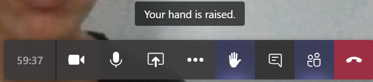new raise your hand feature button on the control bar in a microsoft teams meeting