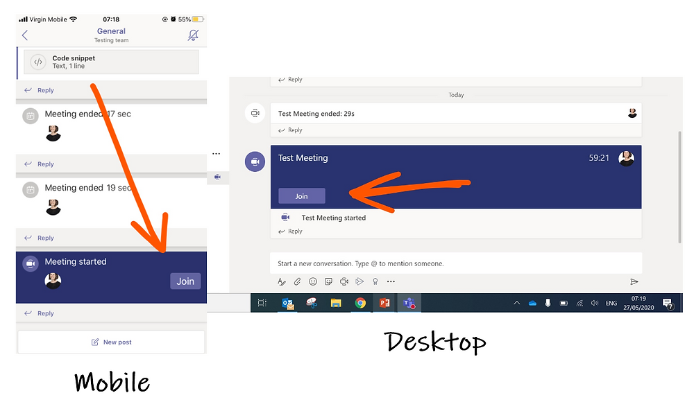 Mobile and desktop view of join meeting button on microsoft teams channels