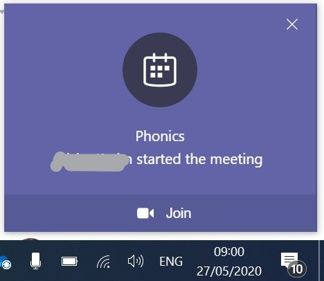 pop-up notification in microsoft teams deskop application when a meeting is started