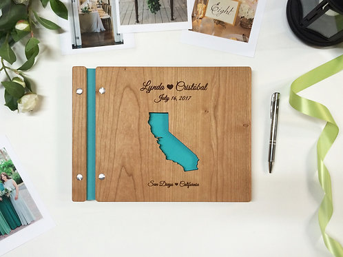 Wooden Wedding Guest Book Cut-Out Map 8.5x11