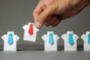 Choosing good employee leader. Man choos