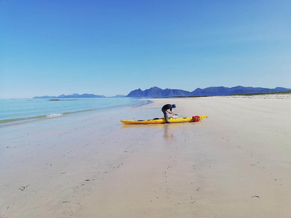 The white sand of Folvika, a sea kayaking gem!