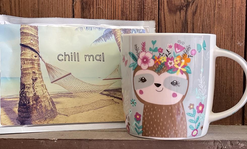 Becher mit Teepostkarte