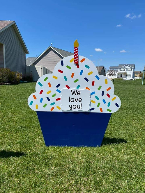 Blue Sprinkles Cupcake