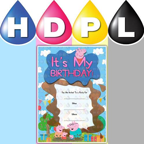 A6 Peppa Pig Birthday Invitations