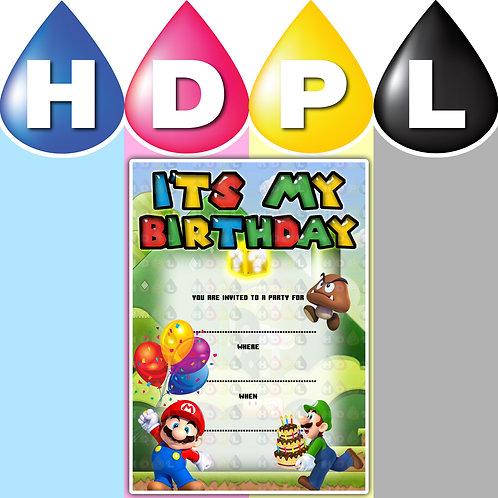 A6 Mario Birthday Invitations