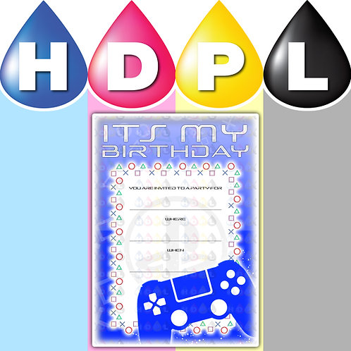 A6 PlayStation Birthday Invitations