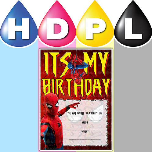 A6 Spider Man Birthday Invitations