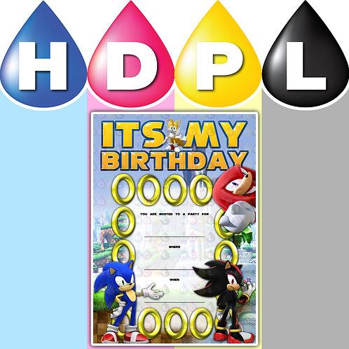 A6 Sonic Birthday Invitations