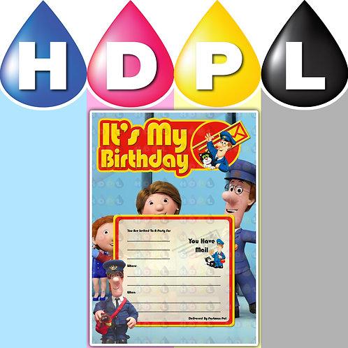 A6 Postman Pat Birthday Invitations