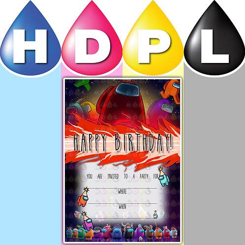 A6 Among Us Birthday Invitations