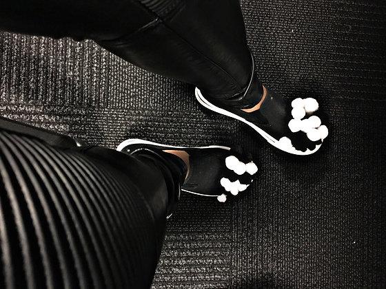Black & White Pom Pom Sneakers