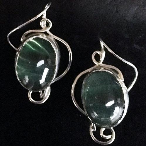Green Gumdrop Reverse Hook Earrings