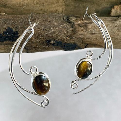 Tiger Eye Brugmansia earrings